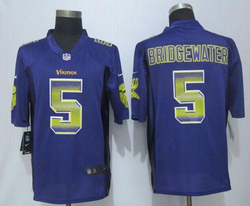sports shoes 50a3f 53087 Nike Vikings #5 Teddy Bridgewater Purple Team Color Men's ...